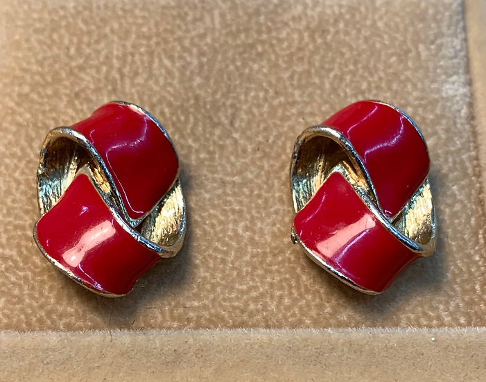 Vintage Enamel Red Ribbon Gold Tone Earrings Posts
