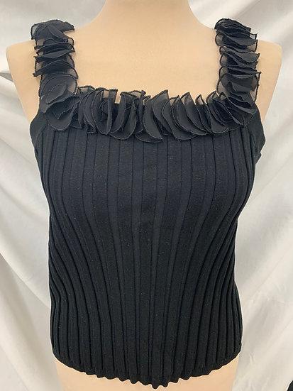 NWT Evie Black Silk & Viscose Sz. XL Ruffled Ribbed Top