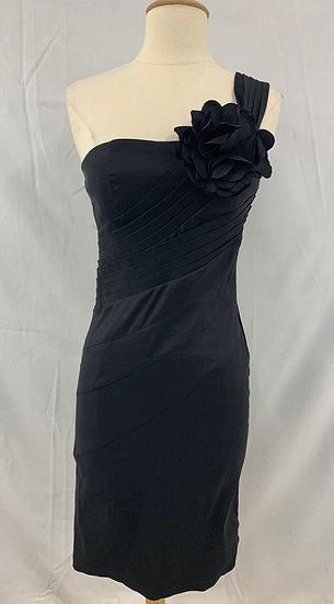 XXI Forever S/P Black Stretchy One Shoulder Dress Big Flower