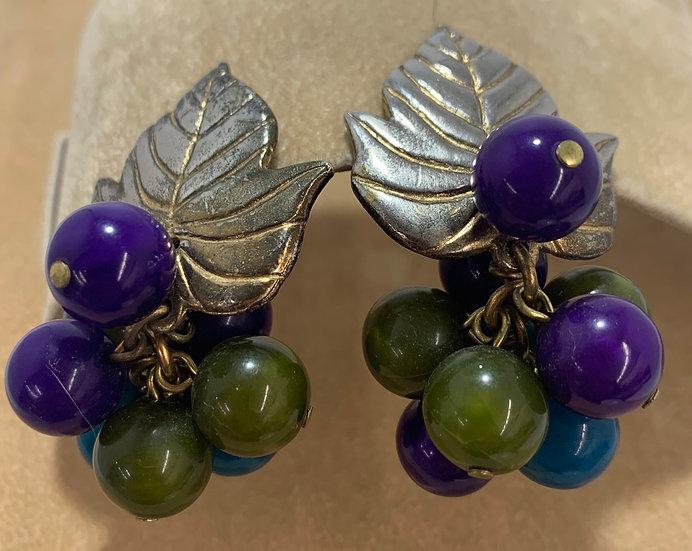 Vintage Clip on Dangle Round Bead Metal Silver Tone Leaf Earrings