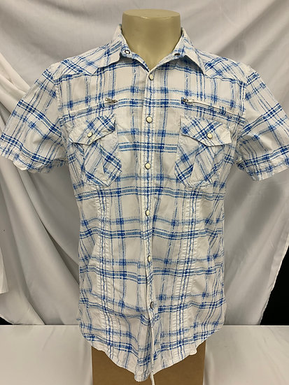 INC International Concepts Sz L White Blue Short Sleeve Button Down Shirt Top sz