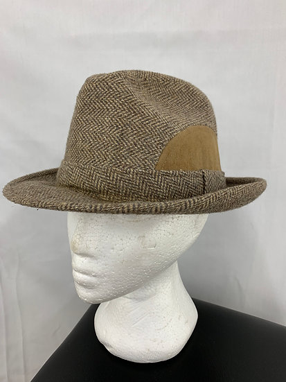 Vintage Fedora Herringbone w/ Felt Wool Size 7 1/8 Made By Adam Hats