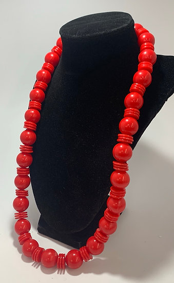 """Vintage Red Plastic Bead Necklace 26"""""""
