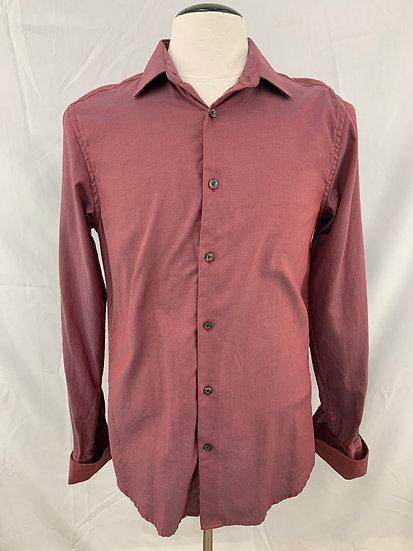 Blackberrys Men's size L (40cm)  Burgandy Trim Fit Button Down Shirt