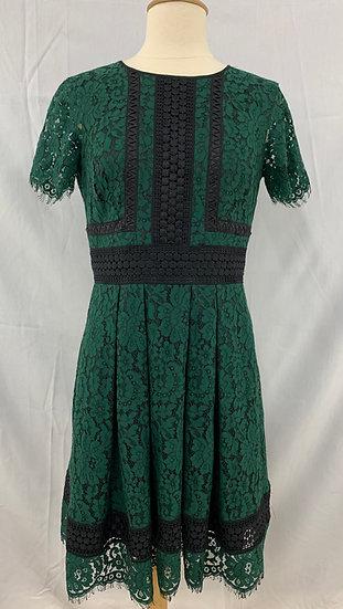 Eliza J Lace Dress Womens size 6 Green Fit & Flare Cap Sleeve  Black Trim