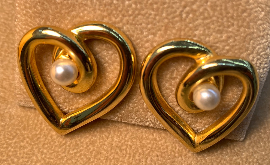 Vintage Heart and Faux Pearl Earrings