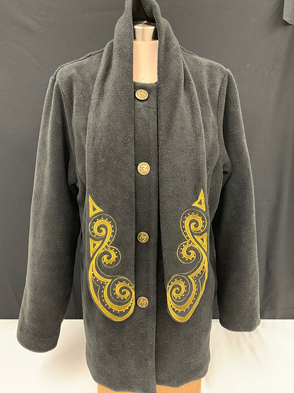 Bob Mackie Womens Black gold Embroidered tie Wearable Art Coat sz L