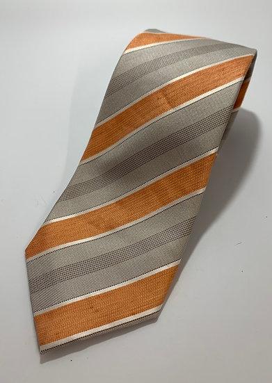 """Tasso Elba Orange & Gray Striped Silk/Linen Tie 61"""""""
