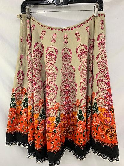 X Act Size M Women's Beige Orange Brown Purple Flair Rockabilly Skirt
