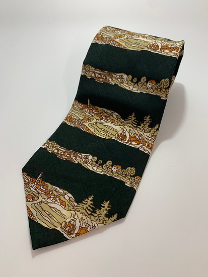 Vintage Damon brand Tie made for AM & A's Dept Store,Hill Side Town Scene