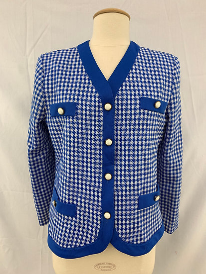 Polyester Women's size 10 Blue White Checkered Long Sleeve Jacket