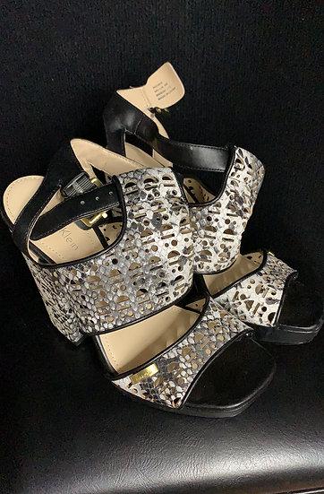 Calvin Klein Vallin Snake Black and white open toe Heel Sandal, Size 6M