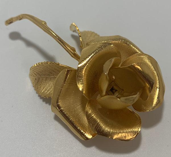 Vintage Cerrito Gold Tone Brushed Metal Rose Pin
