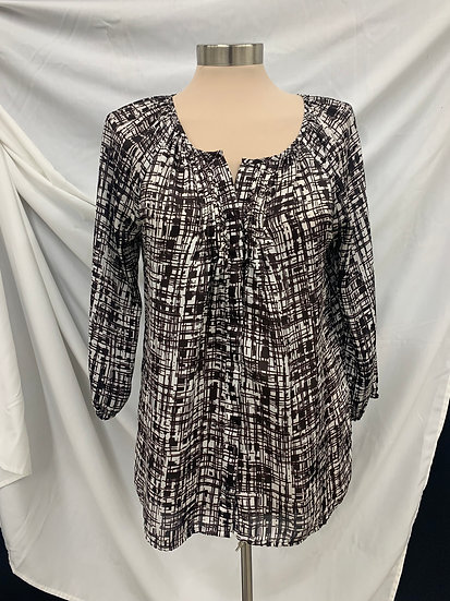 Dana Buchman size small Black White Button Down long sleeve blouse shirt