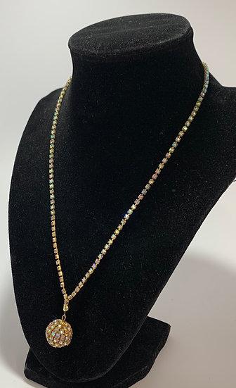 """Vintage Rhinestone Globe Pendant Necklace 18"""""""