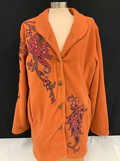 Bob Mackie Womens Burnt Orange Embroidered tie Wearable Art Coat sz L