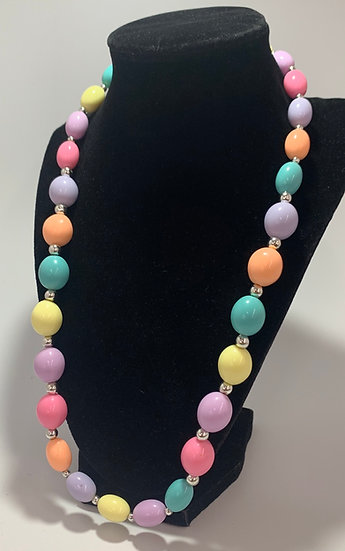 Vintage Pastel Multi Colored Plastic Bead Necklace 24""