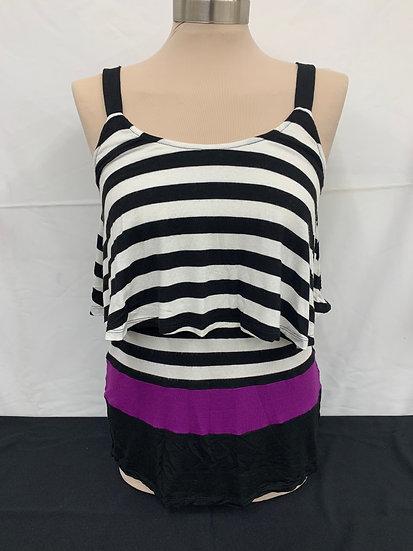 WHBM White House Black Market black white and purple Sleeveless Shirt size XS