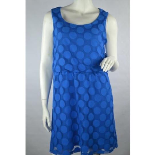 Style & Co Bali Blue Dot Sleeveless Scoop Neck Dress size L