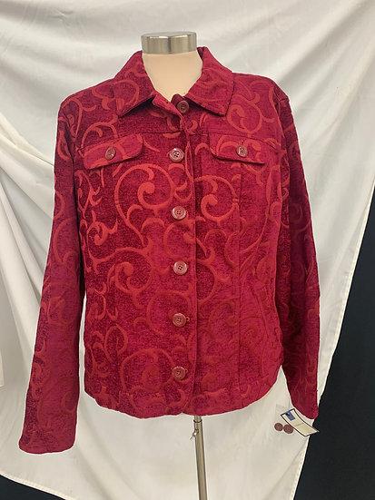 CROFT & BARROW XL Rumba Red velvet look Jacket