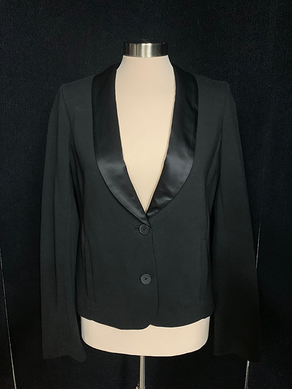 GAP Women's size M Black Dress Waist Tuxedo Jacket Satiny Collar