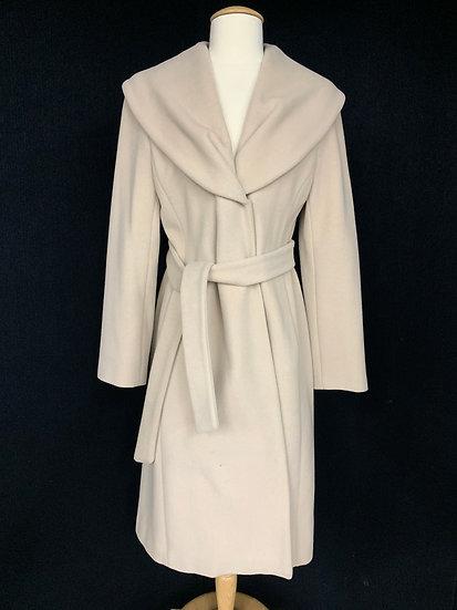 Calvin Klein sz 4 Coat Dark Ivory Belted Hidden Snap Front Wool Cashmere Blend