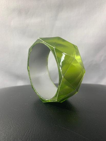 Emerald Green Diamond Edge Shaped Bangle Vintage