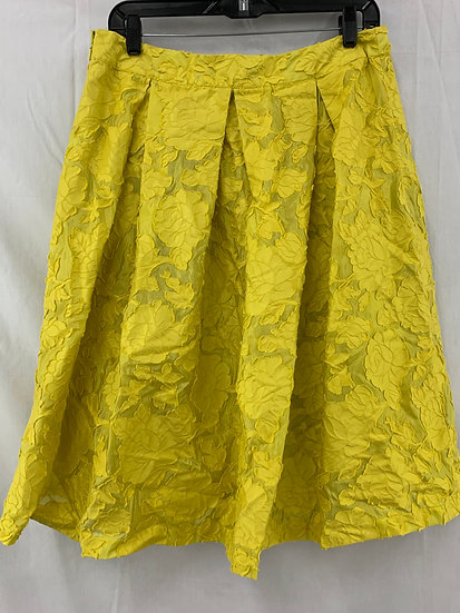 Who What Wear Women's Skirt size 10 Celery Yellow Cotton Blend