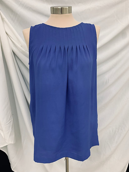 Ann Taylor Loft size S Blue Top Sleeveless Pleated Front