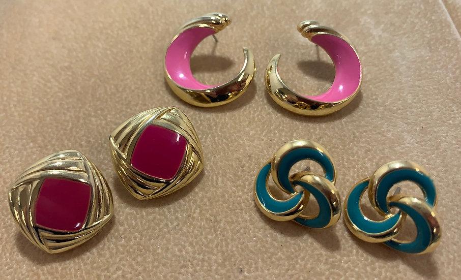 Vintage Pink & Green Gold Tone Enamel Earrings Set of 3