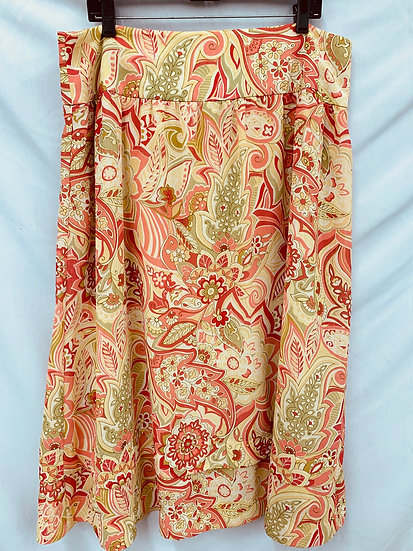 REQUIREMENTS size 16 Long Floral Skirt Peony Pink Orange Lime Green