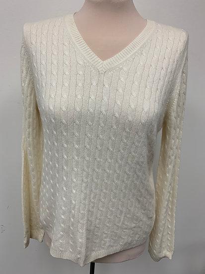 Charter Club 100% 2 ply CASHMERE Ivory V-neck Sweater size L