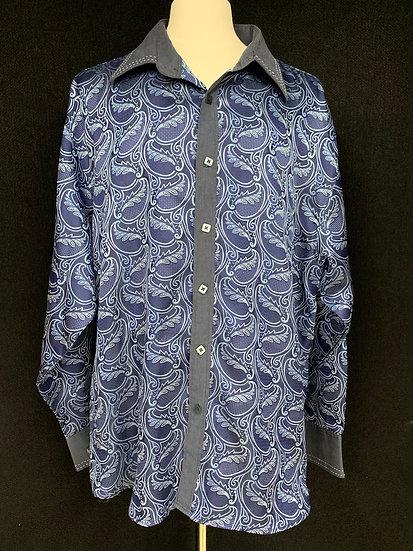 Insomina by Manzini Men's 4XL Button Shirt Blue Paisley Wide Stitch