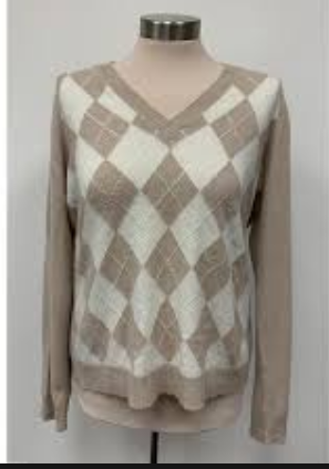 NWT Charter Club CASHMERE Wheat Combo Ivory Tan Argyle V-neck Sweater size L