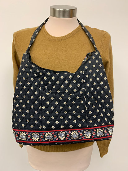 Vera Bradley Quilted Black Red Floral Handbag
