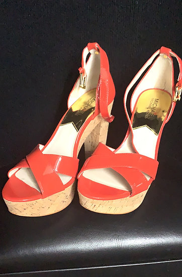 Michael Kors Camilla Red Mandarin Patent Leather Platform Cork Heel Sand