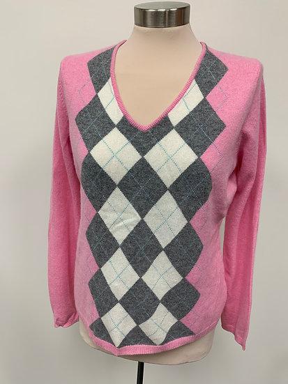 Apt. 9 Pink Gray Ivory Argyle Diamond Pullover Sweater sz L