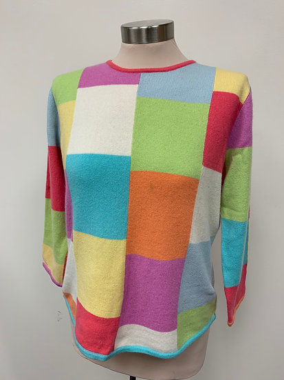Lord and Taylor Exclusively for You Cashmere Color Block Sweater sz L  3/4 sleve