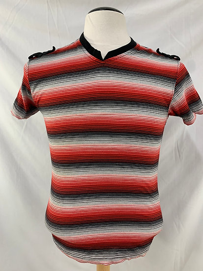 Old School boy's size small black red white short sleeve v neck pullover shirt