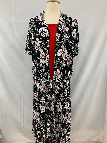 Alfred Dunner Black White Red Flowery Short Sleeve Tie-Waist Top