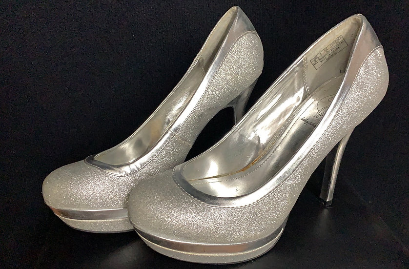 Baby Phat Platform Stiletto Heels Silver Glitter Size 8.5 Shoes - 1970's