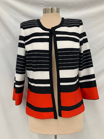 Studio One New York Size 10 Women's Open Fronk Jacket Red White Blue 3/4 Sleeve
