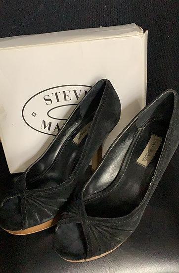 STEVE MADDEN PAWLA Black Suede Peep Toe Platform Pump Stacked Wood Heel