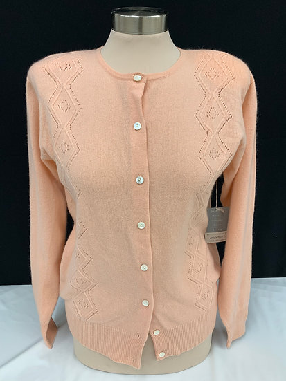 NWT Lord and Taylor Light Peach Button Down Cashmere Sweater sz S