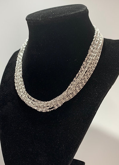 Vintage Sarah Coventry Silver Tone Multi Strand snail Chain Necklace
