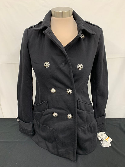 NWT CELEBRITY PINK Black Faux Wool Double Breasted Button Pea Coat Jrs sz S