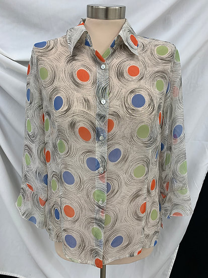 Nicola Woman's Button Down Ruffled Sleeve Sheer blouse Ivory Orange Blue size