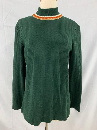 Vintage Women's Green Ribbed Ivory Burnt Orange Tan Turtleneck Pullover