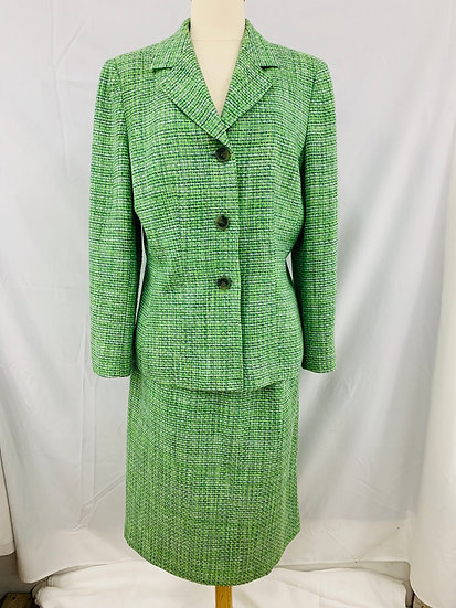 Le Suit size 12 Lime Green Yellow Ivory Woman's 2 pc. Set Long Sleeve Jacket Ski