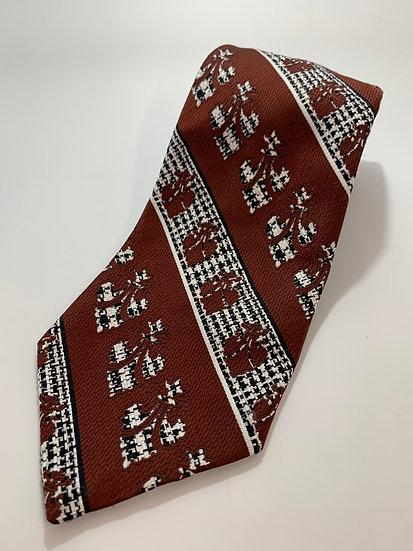 """Vintage Grenadier Brand Brown Crest Pattern Tie 55"""""""